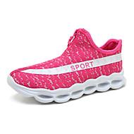 Tênis Conforto Solados com Luzes Tênis com LED Tule Primavera Verão Outono Casual Caminhada Ziper Rasteiro Preto Verde Tropa Rosa claro