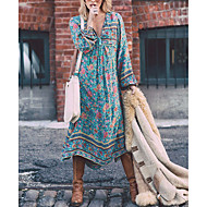 Women's Boho Casual/Daily Holiday Boho Swing Dress,Rainbow Tassel Deep V Asymmetrical ¾ Sleeve Polyester Blue Spring High Rise Inelastic