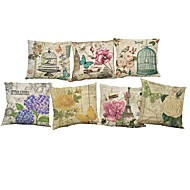 Set of 7 European style retro floral pattern Linen  Cushion Cover Home Office Sofa Square  Pillow Case Decorative Cushion Covers Pillowcases