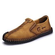 Tøfler & Slip-ons-Læder-Lysende såler Komfort-Herre-Sort Kaki Jorden Gul-Udendørs Fritid-Flad hæl