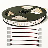z®zdm 5m 72W 300pcs 5050 5red 1blue / grupo liderado tira luz planta com 4pcs 5050 conector DC12V