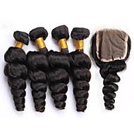 One Pack Solution Бразильские волосы Свободные волны 12 месяцев 5 предметов волосы ткет