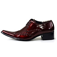 Men's Oxfords Spring Summer Fall Winter Comfort Novelty Leather Wedding Party & Evening Flat Heel Split Joint Lace-up Black Red White