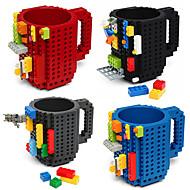 Neuheit Trinkbehälter, 350 ml bpa Tassen freie Kunststoff-Kaffeemilch Kaffeetasse Spielzeug Block