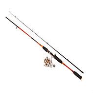 Fishing Rod Telespin Rod Carbon steel 210 M General Fishing Rod & Reel Combos Black Orange
