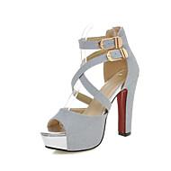 סנדלים-נצנצים חומרים בהתאמה אישית-נוחות חדשני נעלי מועדון-שחור כסוף זהב-שטח שמלה יומיומי-עקב עבה