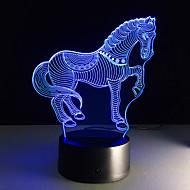 7 kleuren kunnen bevatten veranderende 3D LED dier nightlights paard zebra bureau tafellamp usb bed aanraking lampen thuis paard