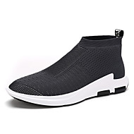 Herren Sneaker Komfort Leuchtende Sohlen Tüll Frühling Sommer Herbst Normal Walking Komfort Leuchtende Sohlen Flacher AbsatzSchwarz Grau