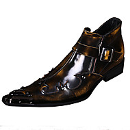 Oxfords Spring Summer Fall Winter Comfort Novelty Leather Wedding Party & Evening Flat Heel Rivet Brown Red Walking