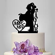 Tortenfiguren & Dekoration individualisiert Klassisches Paar Acryl Hochzeit Jubliläum Rot Gold Silber Schwarz Klassisches Thema OPP
