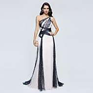 TS Couture Formal Evening Dress - Color Block Celebrity Style A-line One Shoulder Sweep / Brush Train Sequined with Sequins Pleats