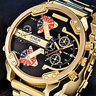 Men's Military Watch Dress Watch Fashion Watch Wrist watch Quartz Calendar Dual Time Zones Punk Large Dial Stainless Steel BandVintage