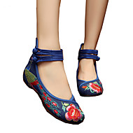Dame-Lerret-Flat hæl-Komfort Original brodert sko-Oxfords-Friluft Fritid Sport-Beige Navyblå Rød Grønn Lyseblå