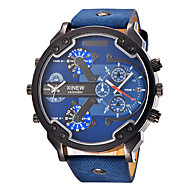 Masculino Relógio Esportivo Relógio Militar Relógio de Moda Relógio de Pulso Quartzo Calendário Dois Fusos Horários Punk Mostrador Grande