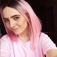 venda quente ombre cabelo cinzento / rosa / roxo / verde bobo peruca sintética peruca curta reta para as mulheres balck peruca.