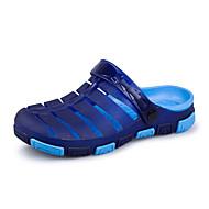 Γυναικεία παπούτσια-Παντόφλες & flip-flops-Ύπαιθρος Καθημερινό-Επίπεδο Τακούνι-τρύπα Παπούτσια-Δέρμα Μικροΐνα-Μπλε Καφέ Πράσινο Γκρι