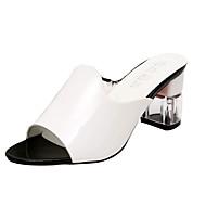 Slippers & Flip-Flops-Kleid Lässig-PU-Blockabsatz-Komfort-Schwarz Weiß