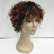 巻き毛のかつらアフロの黒人女性の高品質のための安価な短い自然な黒深いカーリー人間の髪の毛のキャップレスかつら