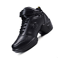 Non Customizable Women's Dance Shoes Leather Leather Modern Sneakers Chunky Heel Practice Black