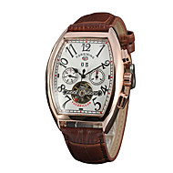 Men's Dress Watch Mechanical Watch Quartz Hollow Engraving Genuine Leather Band Casual Black Brown