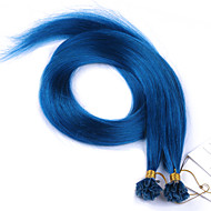 u Astuce extensions de cheveux Pointes brazilian cheveux raides bleu extensions de cheveux humains 100g pré-collés droites cheveux vierge