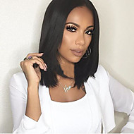 Black Color Middle Length Straight Hair European Synthetic Wigs