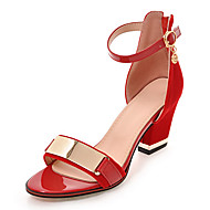 Women's Sandals Spring Summer Fall Club Shoes Leatherette Party & Evening Dress Casual Chunky Heel Metallic toe Zipper Black Red