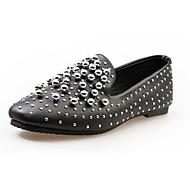 Damen-Flache Schuhe-Lässig-PU-Flacher Absatz-Komfort-Schwarz Weiß Silber
