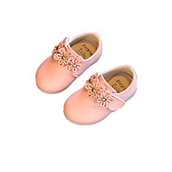Baby Flats Spring Fall Comfort Leatherette Outdoor Casual Low Heel Applique Magic Tape White Pink Running