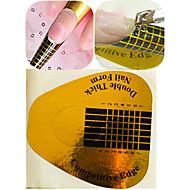 1 set 50st guld nail art klistermärke kit nail art manikyr verktyg för polska / UV gel anti-overflow klistermärke praktiskt verktyg