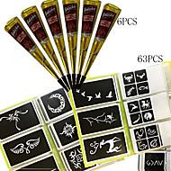 6 ks černé henna + 63pcs plný vzorníku, mehndi body art set, tetování pasta kužely sexy