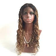 T1b / 4/27 onda ondulado marrom cabelo virgem perucas perucas louras médias ombre brasileiros humanos encaracolado rendas frente com