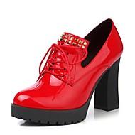 Feminino-Saltos-Outro Sapatos clube Conforto Inovador Gladiador Tira no Tornozelo-Salto Grosso-Preto Vermelho-Couro Envernizado-Casamento