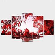 Reprodukce maleb na plátně Krajina Květinový/Botanický motiv Styl Moderní,Pět panelů Plátno Jakýkoliv Shape Tisk Art Wall Decor For Home