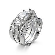 Pierscionek Pierścionek zaręczynowy Zestaw Cyrkonia sztuczna Diament Elegancki Cyrkon Cyrkonia Stal White Biżuteria NaŚlub Urodziny