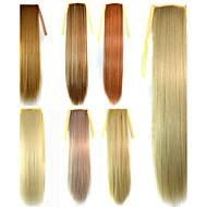스트레이트 헤어 포니 테일의 유럽과 미국의 패션 긴 직선 머리 가짜 포니 테일 번들 밝은 색의 가발 22 인치 조각