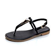 Sandály-PU-Pohodlné-Dámské-Černá Zelená-Šaty Běžné-Plochá podrážka