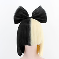 New Fashion Upgrade SIA Style Wig Short Straight Breathable Wig black gold color mixing Synthetic Fiber wigs  high-grade net yarn bow