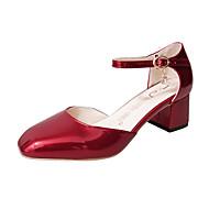 Women's Loafers & Slip-Ons Spring Comfort Patent Leather Outdoor Chunky Heel Block Heel Buckle Walking