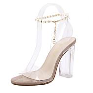 レディース-ドレスシューズ-ラバー-チャンキーヒール ブロックヒール-透明靴-サンダル-