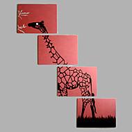 Pintados à mão Animal Horizontal,Moderno Estilo Europeu 4 Painéis Tela Pintura a Óleo For Decoração para casa
