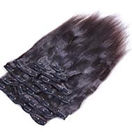 Klip Przedłużanie włosów yaki prostej brazylijski włosy czarne natrual yaki prostej klamerka w ludzkich włosów tka 8szt / set 10-26 cal