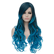The European and American fashion daily blue gradient long wig party cos 1400