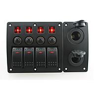 iztoss piros LED DC12 / 24V 4 gang on-off billenőkapcsoló íves panel és megszakító címkével matricák és 2 cigarettel konnektorba csónak