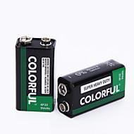 9v צבעוני אבץ סוללה יבשה 9v 10 Pack