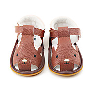 ילדים-סנדלים-PU-צעדים ראשונים נעלי ילדת הפרח-חום-שמלה יומיומי-עקב שטוח