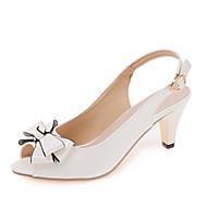 여성 샌들 클럽 신발 PU 봄 여름 드레스 파티/이브닝 클럽 신발 리본장식 버클 청키 굽 화이트 블랙 5cm- 7cm