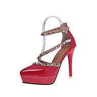 נשים-עקבים-עור פטנט-רצועת T נוחות נעליים פורמלית-לבן שחור אדום ורוד-שמלה מסיבה וערב-עקב סטילטו