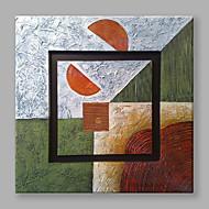 Pintada a mano Abstracto Cuadrado,Modern Un Panel Lienzos Pintura al óleo pintada a colgar For Decoración hogareña