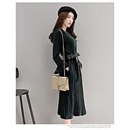 Damen Swing Kleid-Lässig/Alltäglich Anspruchsvoll Solide Trägerlos Übers Knie Langarm Kunstseide Polyester Frühling Herbst Hohe Hüfthöhe